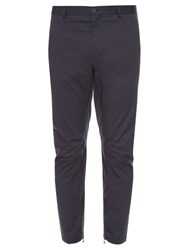 Lanvin Zip Cuff Cotton Gabardine Biker Trousers Grey