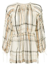 Kitx Check Printed Loose Blouse White