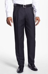 Men's Santorelli 'Luxury Serge' Double Pleated Wool Trousers Black