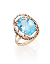 Bh Multi Color Corp. Blue Topaz Diamond And 14K Rose Gold Ring Rose Gold Blue