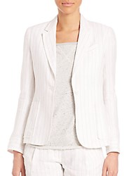 Atm Anthony Thomas Melillo Linen Stripe Schoolboy Blazer White Stripe
