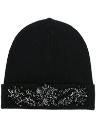 P.A.R.O.S.H. Embellished Beanie Hat Women Wool One Size Black