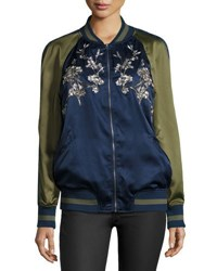 Max Studio Japanese Floral Embroidered Bomber Jacket Navy