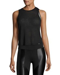Koral Perforated Knit Muscle Tank Black