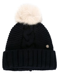 Woolrich Fox Fur Ball Hat Blue
