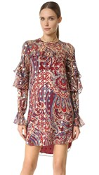 Haute Hippie Long Sleeve Ruffle Dress Kennedy Metallic
