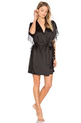 Flora Nikrooz Paige Charmeuse Lace Cover Up Black
