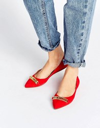 Love Moschino Pointed Ballet Flats Red