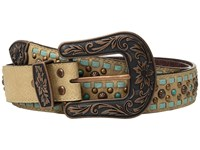 Mandf Western Copper Studs With Turquoise Lace Belt Light Brown Belts Tan
