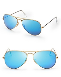 Ray Ban Polarized Mirrored Aviator Sunglasses Matte Gold Polarized Blue Mirror