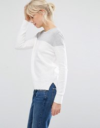 Shae Donna Block Colour Jumper In Off White Off White