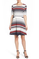 Women's Pleione Stripe Ottoman Rib Fit And Flare Dress Red Pink Stripe