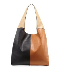 Hayward Grand Colorblock Leather Shopper Tote Bag Black Pattern