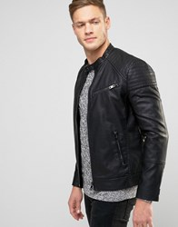 New Look Faux Leather Biker Jacket In Black Black