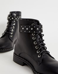 Pimkie Studded Lace Front Hiker Boot In Black