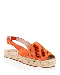 French Connection Open Toe Slingback Perforated Espadrille Flats Lucya Nasturium
