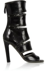 Alaia Zip Embellished Cutout Leather Sandals Black