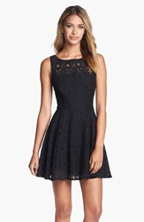 Women's Bb Dakota 'Renley' Lace Fit And Flare Dress Black