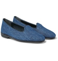 Rubinacci Leather Trimmed Denim Loafers Indigo