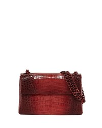 Nancy Gonzalez Madison Colorblock Croc Double Chain Shoulder Bag Burgundy