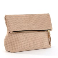 Shana Luther Handbags Tre Clutchperforated Tan