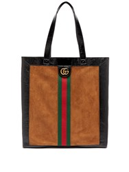 Gucci Ophidia Suede Large Tote With Leather Trim Brown Multi