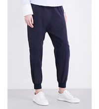 Clu Tapered Mid Rise Cotton And Silk Blend Trousers Navy