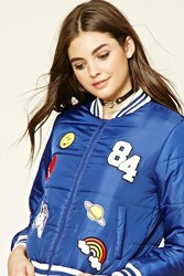 Forever 21 Patch Puffer Jacket Royal