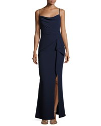 Marina Pleated Side Ruffle Long Dress Navy