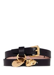 Alexander Mcqueen Double Wrap Skull Leather Bracelet Black