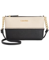 Calvin Klein Mini Saffiano Leather Crossbody Wheat Black