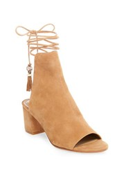 Brian Atwood Bali Suede Lace Up Boots Camel