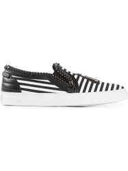 Philipp Plein Striped Slip On Sneakers Black