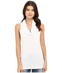 Three Dots Scarlet Sleeveless Cowl Neck White Women's Sleeveless