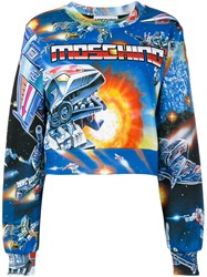 Moschino Space Print Cropped Sweater Women Cotton 40 Blue