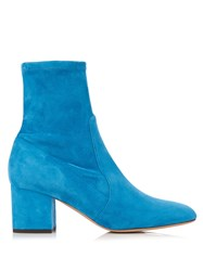 Valentino Block Heeled Suede Ankle Boots Blue