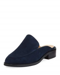 Neiman Marcus Ailey Suede Slide Loafer Mule Blue