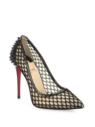 Christian Louboutin Guni Patent Trim Spiked Mesh Pumps Black