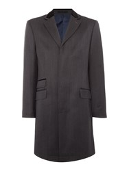 New And Lingwood Elsham Twill Coat With Velvet Top Collar Charcoal