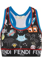 Fendi Printed Stretch Jersey Sports Bra Black