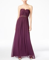 Adrianna Papell Strapless Ruched Gown Currant