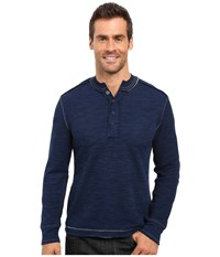 True Grit Double Weave Long Sleeve Snap Henley Indigo Men's Clothing Blue