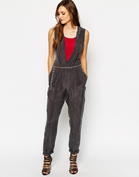 Sisley Jumpsuit In Cupro With Chain Belt Grey