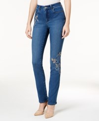 Charter Club Lexington Embroidered Tummy Control Straight Leg Jeans Created For Macy's Lyon Wash Combo