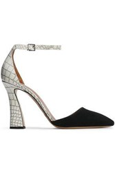Emporio Armani Woman Suede And Croc Effect Leather Pumps Black