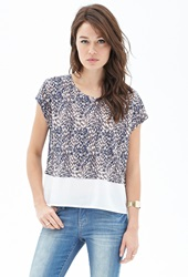 Forever 21 Tiered Printed Batwing Tee Ivory Navy