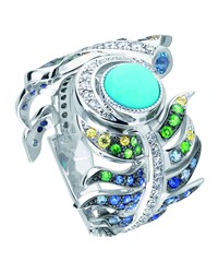 White Gold Peacock Multi Stone Ring Lalique Blue