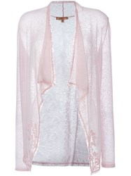 Ermanno Scervino Lace Trim Draped Cardigan Pink And Purple