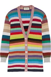 Gucci Metallic Trimmed Striped Cashmere And Wool Blend Cardigan Red Blue