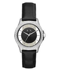 Armani Exchange Hampton Stainless Steel Leather Strap Watch Black